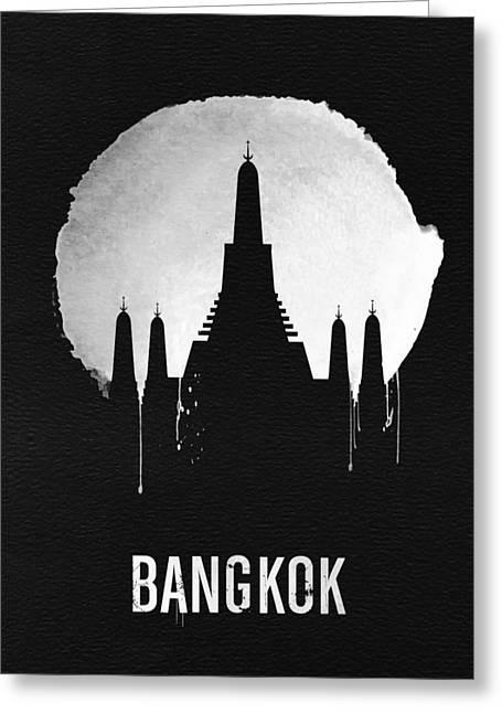 Bangkok Landmark Black Greeting Card by Naxart Studio