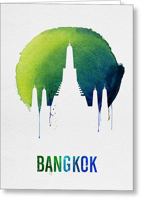 Bangkok Landmark Blue Greeting Card by Naxart Studio