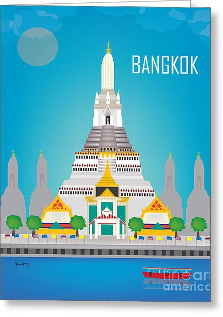 Small Canvas Greeting Cards - Bangkok Thailand Vertical City Art by Loose Petals Greeting Card by Karen Young