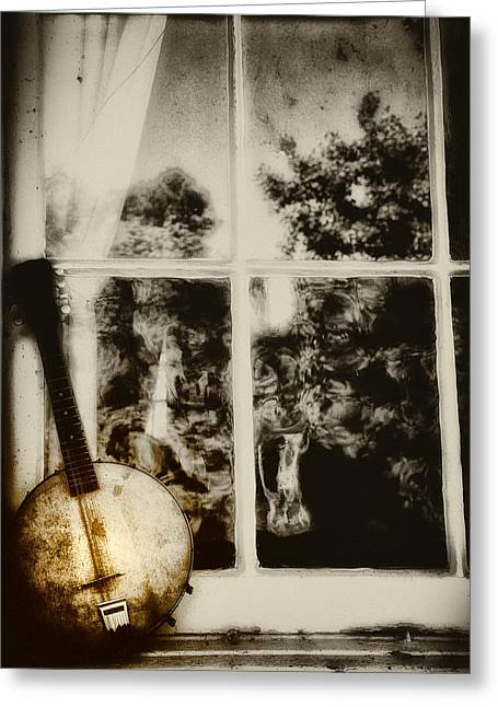 Music Time Greeting Cards - Banjo Mandolin in the Window in Black and White Greeting Card by Bill Cannon