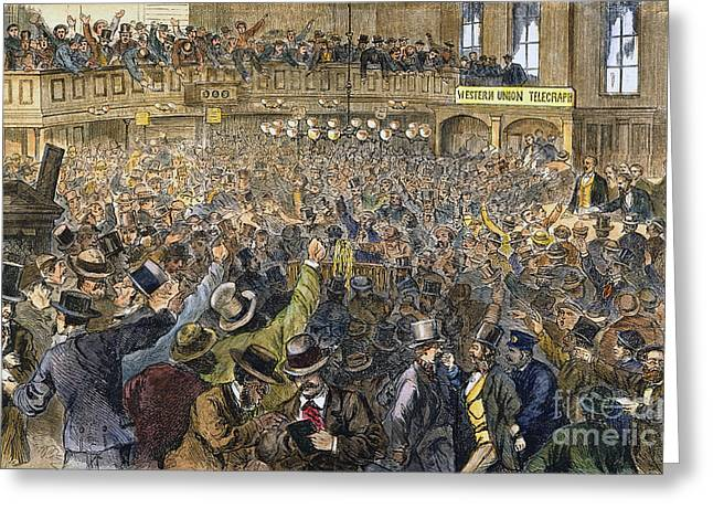 Bank Panic Greeting Cards - Bank Panic: 1869 Greeting Card by Granger