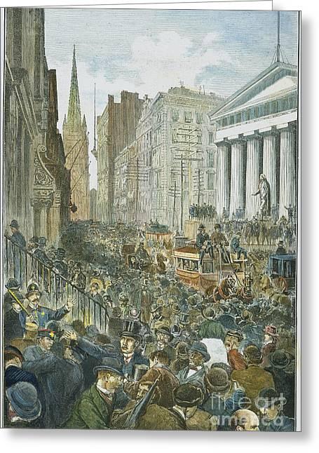 Wall Street Greeting Cards - Bank Panic, 1884 Greeting Card by Granger