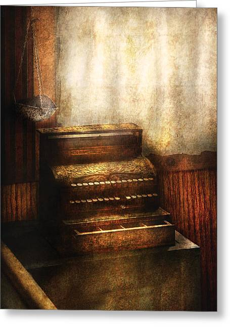 Banker - An Old Cash Register Greeting Card by Mike Savad