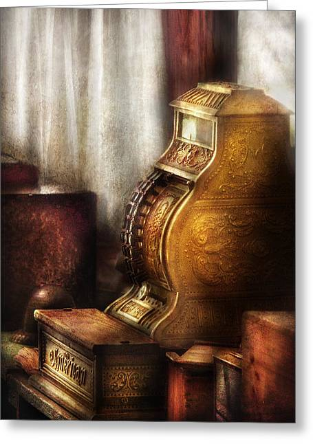 Banker - Brass Cash Register  Greeting Card by Mike Savad