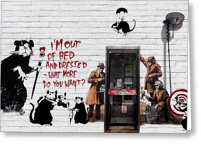 Recently Sold -  - Ultra Modern Greeting Cards - Banksy - The Tribute - Rats Greeting Card by Serge Averbukh