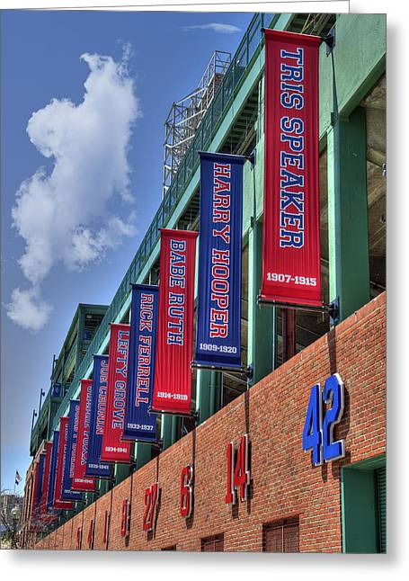 Fenway Park Greeting Cards - Banners of Glory - Fenway Park - Boston Greeting Card by Joann Vitali