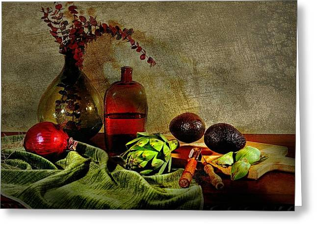 Table Top Still Life Greeting Cards - Banquet Sideboard Greeting Card by Diana Angstadt