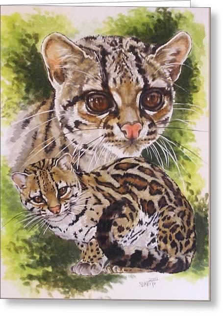 Wildcats Mixed Media Greeting Cards - Bantam Greeting Card by Barbara Keith