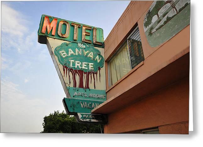 Motel Art Greeting Cards - Banyan Tree Motel Greeting Card by David Lee Thompson