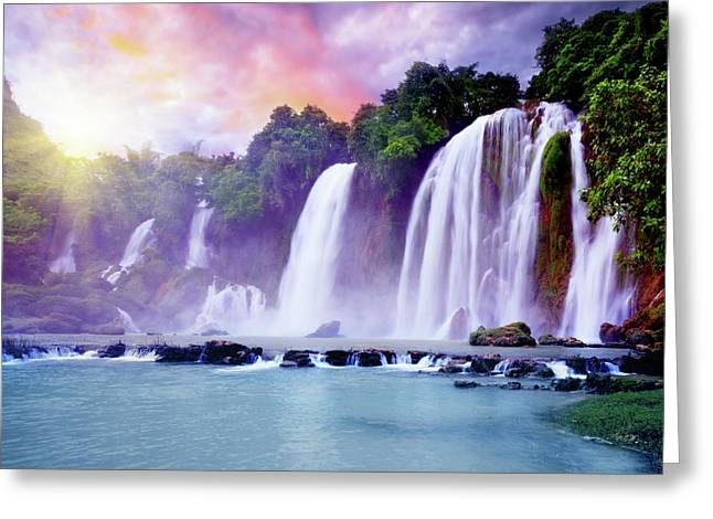 Banyue Greeting Cards - Banyue waterfall Greeting Card by MotHaiBaPhoto Prints