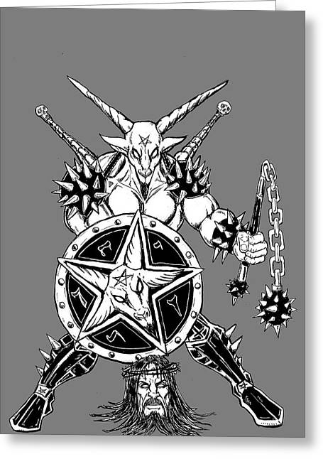 Levi Greeting Cards - Baphomet Mace Weilder Greeting Card by Alaric Barca