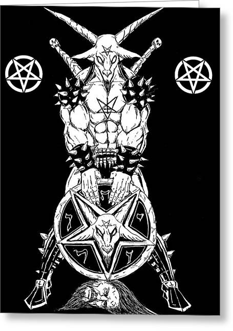 Levi Greeting Cards - Baphomets Shield Greeting Card by Alaric Barca