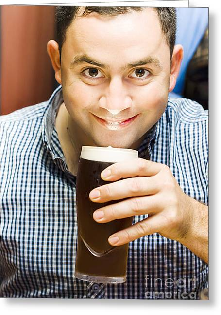 Men Drinking Greeting Cards - Bappy European English man drinking pint of beer Greeting Card by Ryan Jorgensen