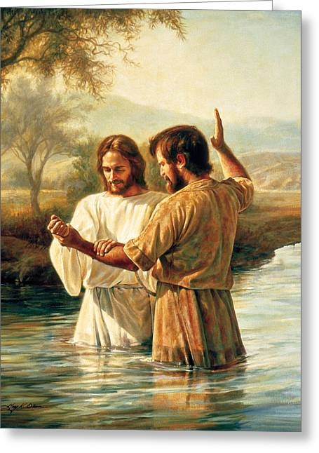 Religious Greeting Cards - Baptism of Christ Greeting Card by Greg Olsen