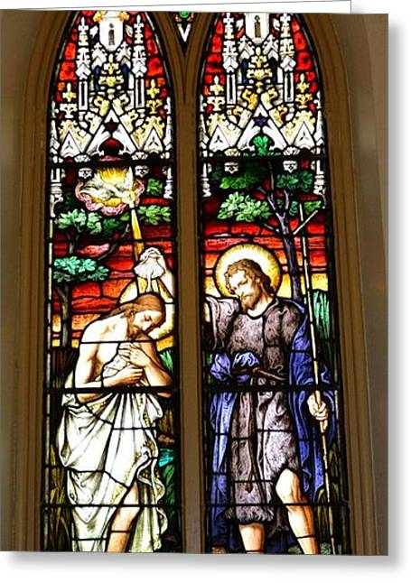 Charlotte Greeting Cards - Baptism Of Our Lord Stained Glass Greeting Card by Richard Jenkins