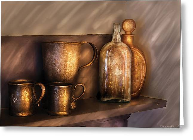 Honk Greeting Cards - Bar - Implements of Whiskey  Greeting Card by Mike Savad