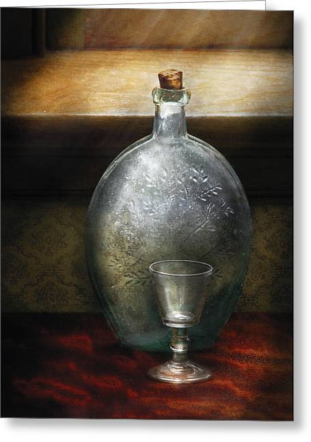 Honk Greeting Cards - Bar - The Flask and the Glass Greeting Card by Mike Savad
