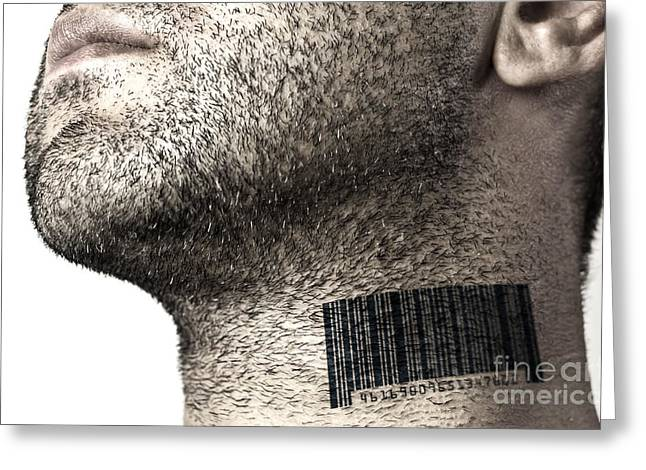 Label Photographs Greeting Cards - Bar code on neck Greeting Card by Blink Images