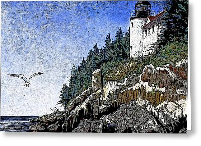 Maine Lighthouses Pastels Greeting Cards - Bar Harbor Head Lighthouse Greeting Card by Shirley Sykes Bracken