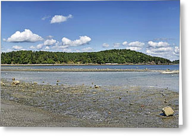Habor Greeting Cards - Bar Island and land bridge panorama - Bar Harbor Maine Greeting Card by Brendan Reals