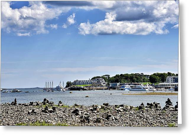 Habor Greeting Cards - Bar Island view of Bar Harbor - Maine Greeting Card by Brendan Reals