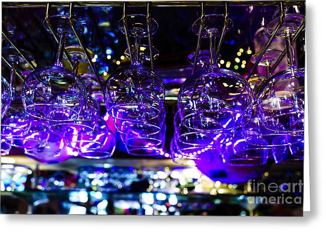 Wine-glass Greeting Cards - Bar Scene     Greeting Card by Ben Graham