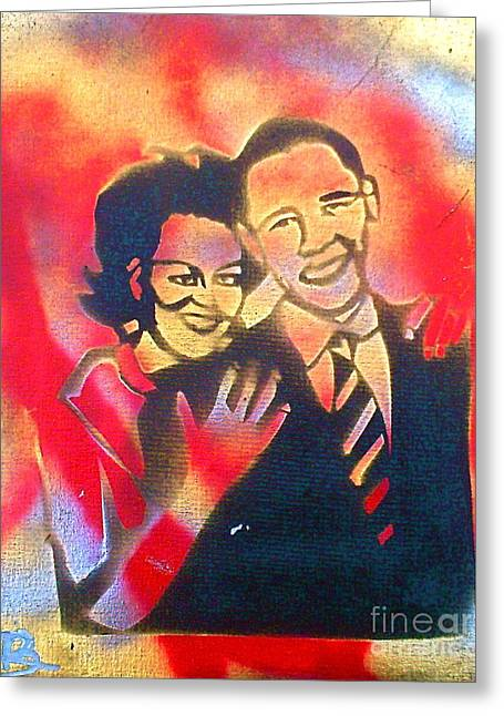 Michelle Obama Paintings Greeting Cards - Barack BLACK Love Greeting Card by Tony B Conscious
