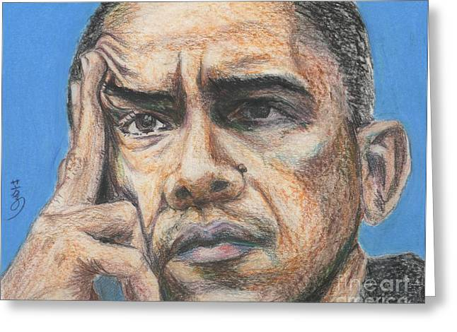 President Of America Drawings Greeting Cards - Barack Obama - President Of United States Of America Greeting Card by Yoshiko Mishina