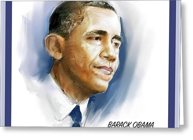 Barack Obama, 44th. President Of The United States Greeting Card by Tim Williams