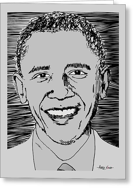 President Obama Greeting Cards - Barack Obama Greeting Card by Artist  Singh