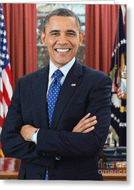 President Obama Greeting Cards - Barack Obama Greeting Card by Celestial Images