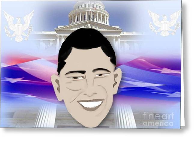 Famous African Americans Drawings Greeting Cards - Barack Obama First African American President Greeting Card by Belinda Threeths