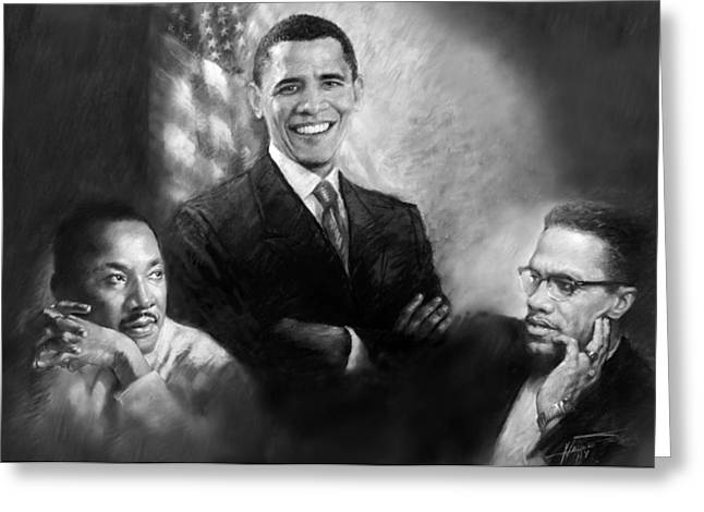 Barack Pastels Greeting Cards - Barack Obama Martin Luther King Jr and Malcolm X Greeting Card by Ylli Haruni