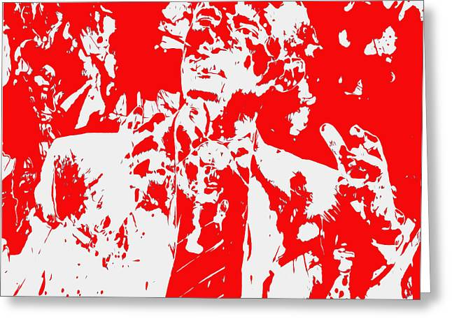 Barack Obama Paint Splatter 4d Greeting Card by Brian Reaves