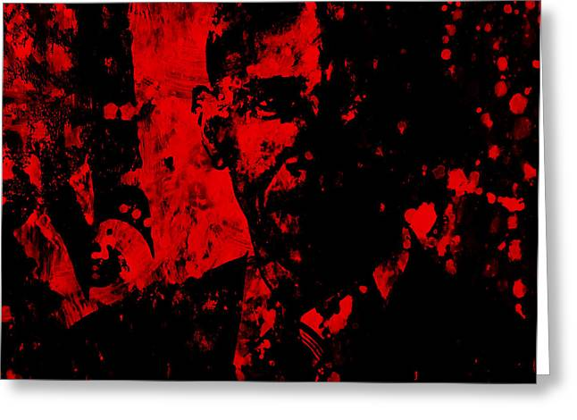 President Obama Greeting Cards - Barack Obama Paint Splatter Greeting Card by Brian Reaves