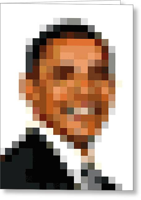 President Obama Greeting Cards - Barack Obama Pixelface Greeting Card by Pixel Face