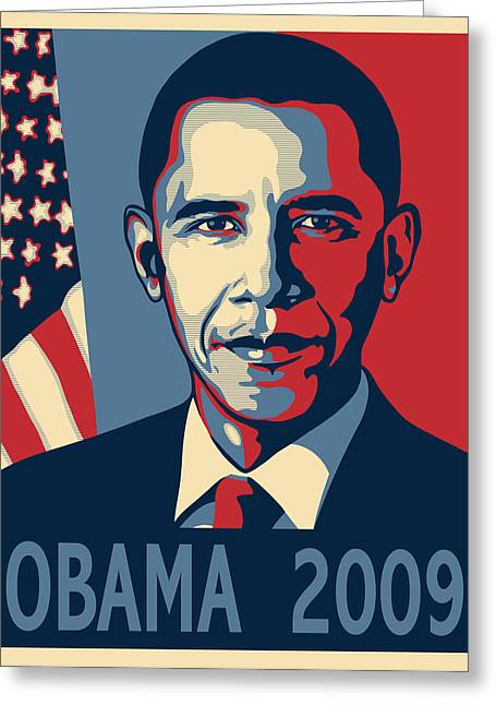 Seabreeze Studio Greeting Cards - Barack Obama Presidential Poster Greeting Card by Sue  Brehant