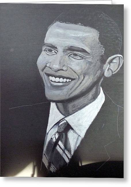 Barack Greeting Cards - Barack Obama Greeting Card by Richard Le Page