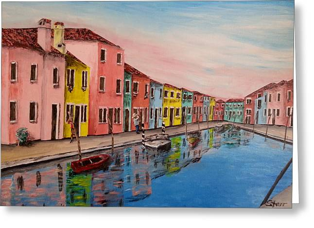 Texting Greeting Cards - Burano Italy Reflections Greeting Card by Irving Starr