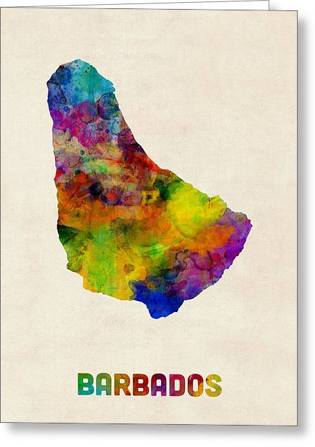 Barbados Watercolor Map Greeting Card by Michael Tompsett
