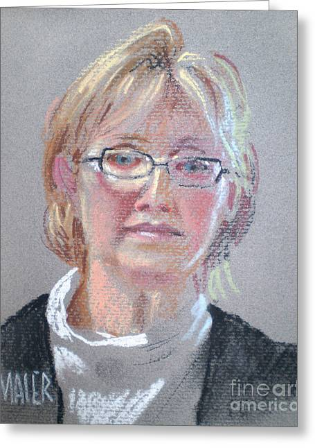 Pastel Portrait Greeting Cards - Barbara Benedict Greeting Card by Donald Maier