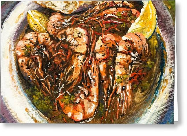 Kitchen Greeting Cards - Barbequed Shrimp Greeting Card by Dianne Parks