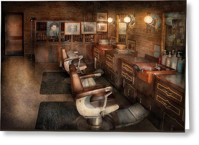 Barber - Clinton Nj - Clinton Barbershop  Greeting Card by Mike Savad