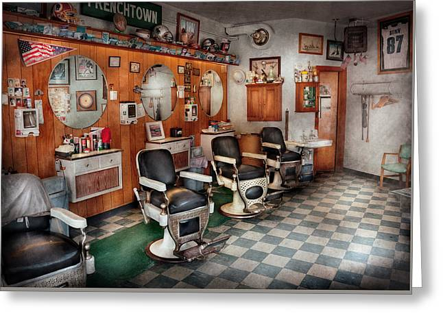 Barber - Frenchtown Barbers  Greeting Card by Mike Savad