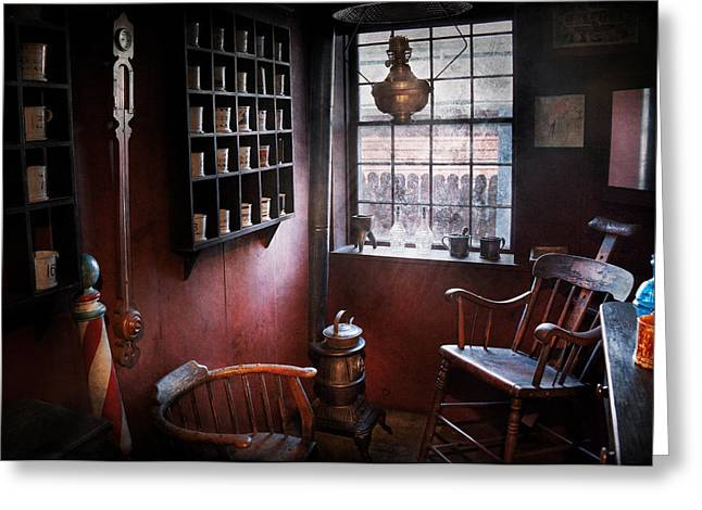 Old Tress Greeting Cards - Barber - The country barber  Greeting Card by Mike Savad