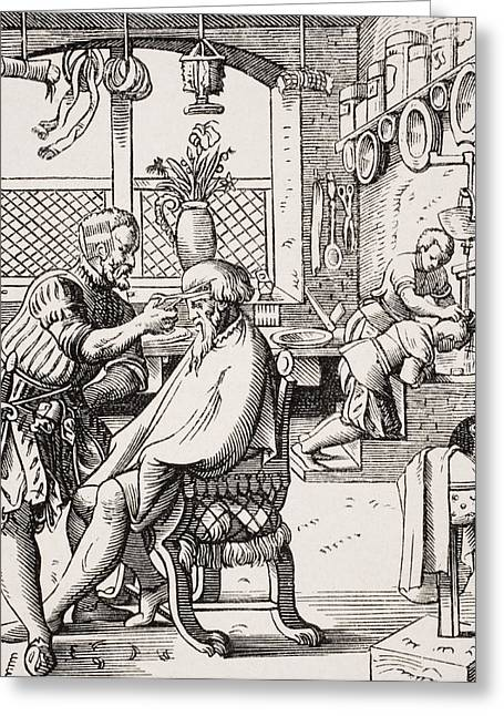 Hairstylists Greeting Cards - Barber. 19th Century Reproduction Of Greeting Card by Ken Welsh