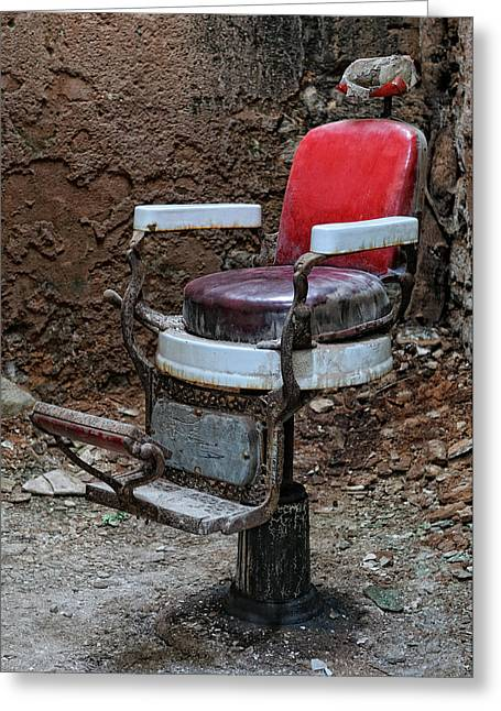 Barber Chair Greeting Cards - Barber Cell Chair Greeting Card by Don Schroder