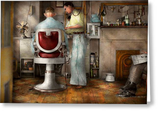 Barber - Our Family Barber 1935 Greeting Card by Mike Savad
