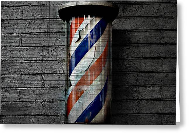 Barber Pole Blues  Greeting Card by Jerry Cordeiro