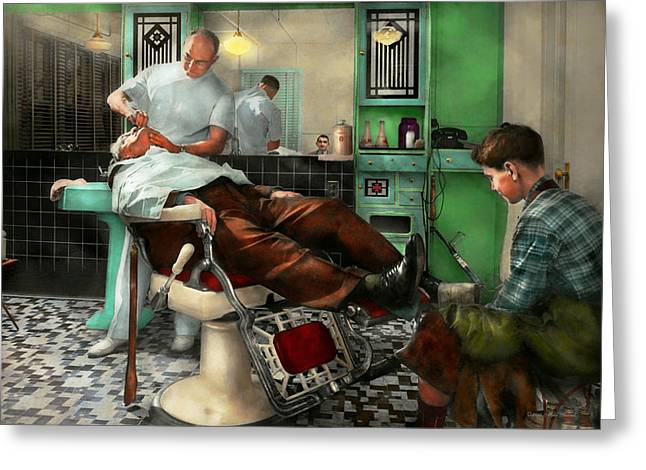 Barber - Shave - Pennepacker's Barber Shop 1942 Greeting Card by Mike Savad